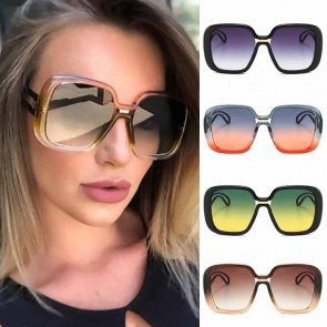 Oversize Square Sunglasses Multicolor Frame Hollow Legs
