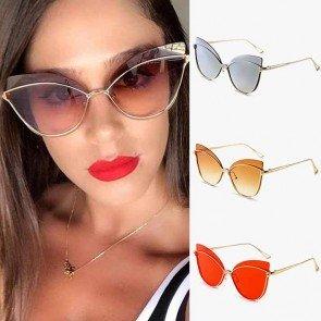 Alloy Frame Gradient Tint Oversized Cat Eye Sunglasses