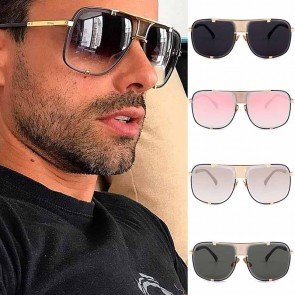 Large flat top dapper square aviator block sunglasses