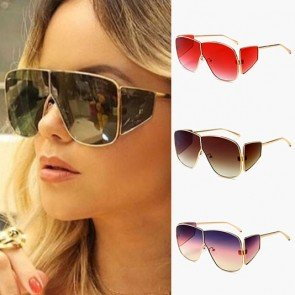Oversized aviator side coverage steam punk sunglasses