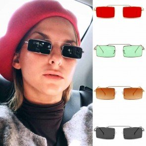 Wire rim square retro block hipster sunglasses
