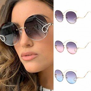 Rimless Luxury Rhinestones Ladies Round Sunglasses