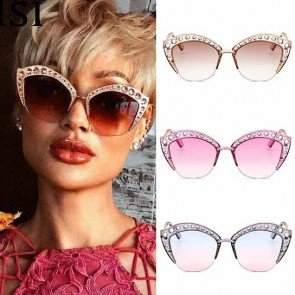Retro Cat's Eye Sunglasses Oversize Rhinestone Shades