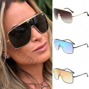 One Piece Gradient Shield Sunglasses Oversize Shades