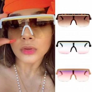 Cool futuristic flat top one piece aviator sunglasses