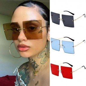 Oversized Rimless Square Sunglasses Women Large Glasses