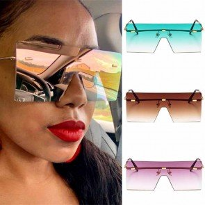 Futuristic flat top one piece big lens mask sunglasses