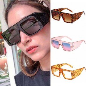 Bold Temples Big Frame Flat Top Wrap Around Sunglasses
