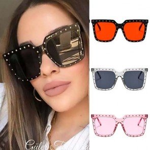 Retro Square Studded Oversize Shades Vintage Sunglasses