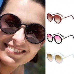 Retro circle lens acetate frame cute round sunglasses