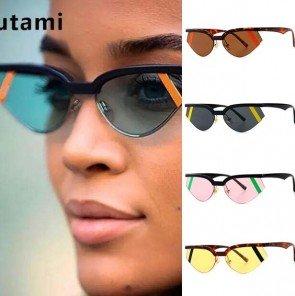 Ladies Cat Eye Sunglasses Multicolored Lens Half Frame