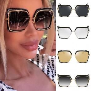 Metal frame gradient lens oversize square sunglasses