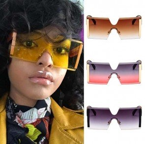 Unisex Cool One Piece Lens Squared Oversize Boxy Sunglasses