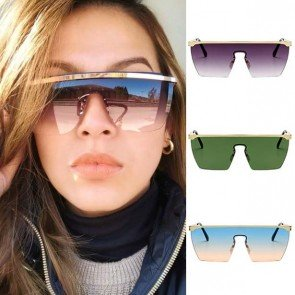 Oversized Blade Shield Metal Frame Visor Sunglasses