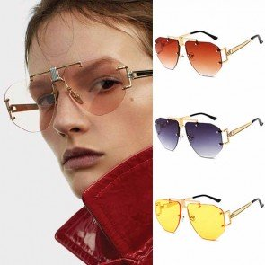 Geometric nose bride oversize rimless aviators
