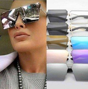 Flat Square Sunglasses Oversized Reflective Big Shades