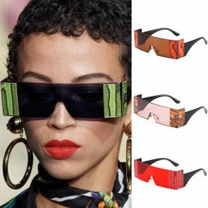 Steampunk Style Rimless Rectangle One Piece Sunglasses