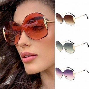 Rimless one piece women luxury butterfly sunglasses
