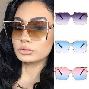 Super Chic Modern Rimless Oversized Square Sunglasses