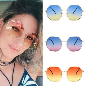 Octagon Metal Frame Gradient Tint Oversized Sunglasses