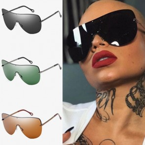 Super Huge Shield Aviator Sunglasses Tear Drop Lens