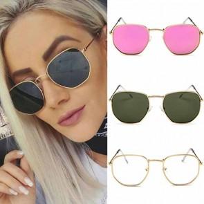 Retro Chic Metal Frame Flat Lens Hexagon Sunglasses