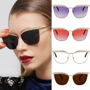 Indie trendy oversized rhinestones cat eye sunglasses