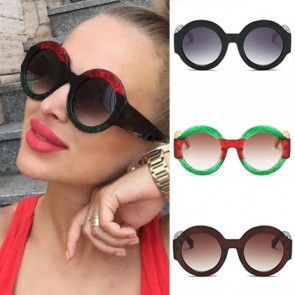 Round feminine shades multicolored rainbow sunglasses