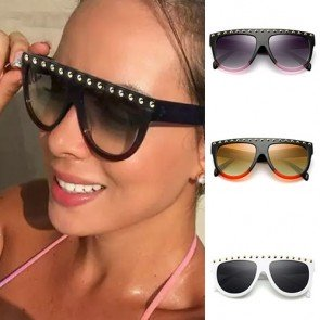 Metallic Rivets Gradient Tint Large Flat Top Sunglasses
