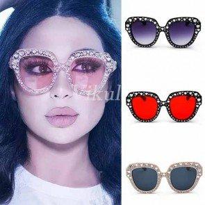 Bling Heart Pointed Tip Cat Eye Silhouette Sunglasses