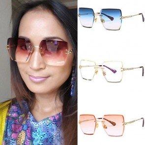 Chic statement gradient lens square rimless sunglasses