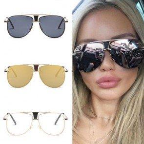 Retro Aviator Sunglasses Cop Style Classic Metal Frame