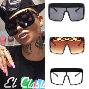 Oversized Shield One Piece Aviator Flat Top Sunglasses