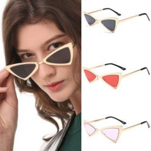 Vintage inspired triangle flat lens cat eye sunglasses