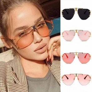 Geometric nose bride oversize see-through lens aviators
