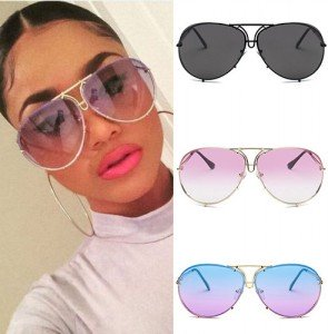 Fashion Aviator Sunglasses with Transparent Fade Lenses