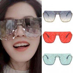 One Piece Aviator Sunglasses Flat Top Shield Lens