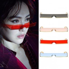 Half Frame Small Rectangle Sunglasses One Piece Shades