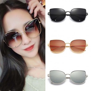 Cat Eye Rounded Metal Frame Oversized Gradient Lenses
