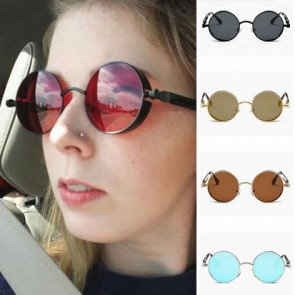 Retro steampunk round side cover sunglasses
