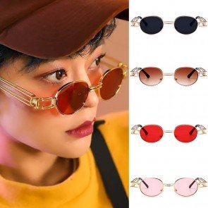 Small round oval gold sunglasses steampunk style hi tek