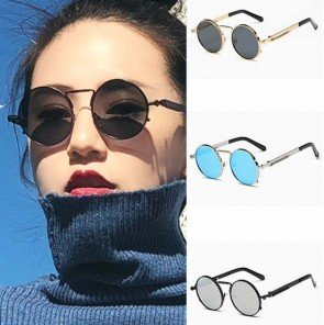 Steam punk vintage round sunglasses mirror tinted lens