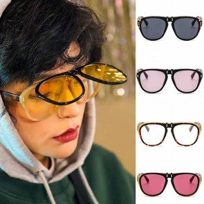 Street fashion flip up lens large aviator sunglasses