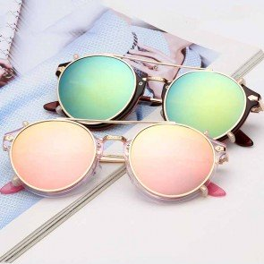 Retro dapper cross bar round aviator sunglasses