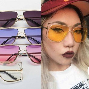 Oversized Geometric Double Rims Gradient Lens Aviators