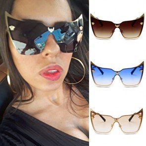 One Piece Lens Oversized Cat Eye Shaped Sunglasses