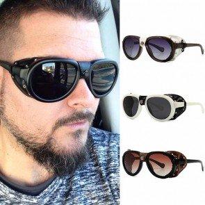 Leather side shields steampunk retro aviator sunglasses