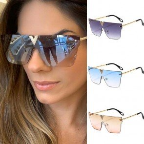 Luxury rimless oversized one piece sunglasses