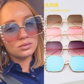 Fashion Pearls Oversized Twinkling Bling Sunglasses