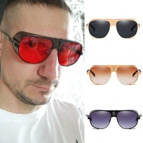 Steam punk side shield flat top aviator sunglasses